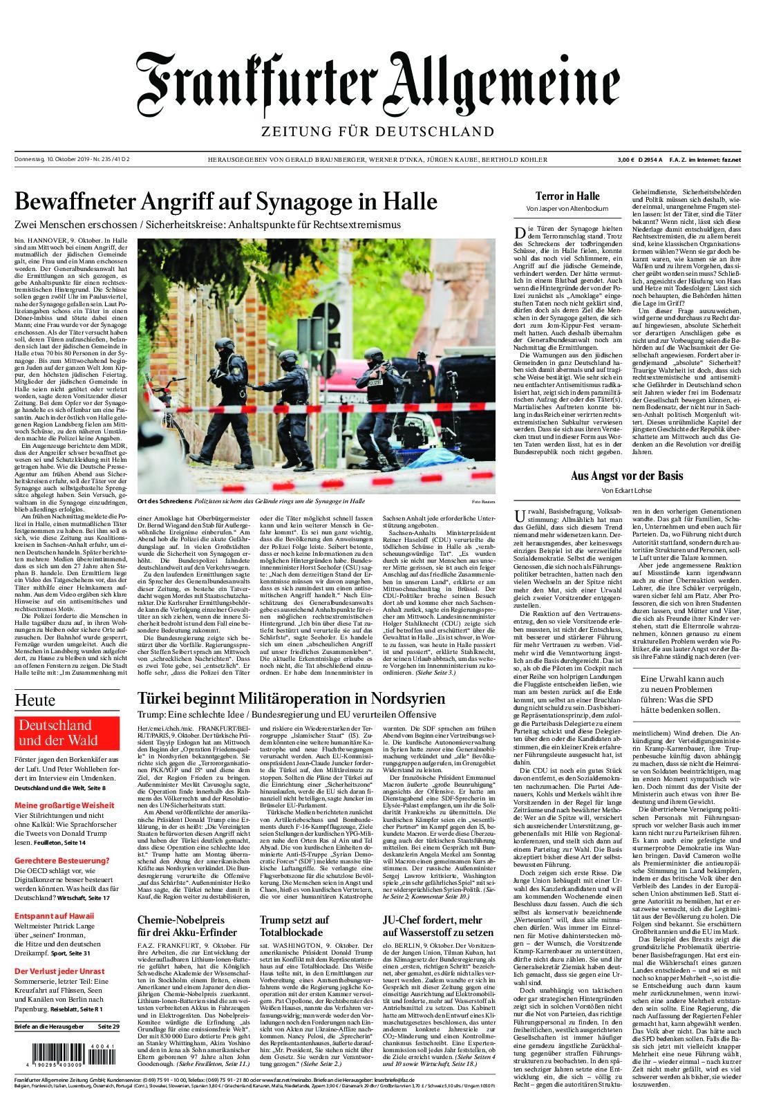 Frankfurter Allgemeine Zeitung F.A.Z. - 10. Oktober 2019