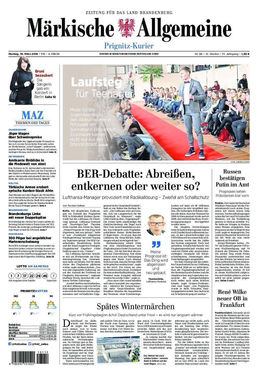 Märkische Allgemeine Prignitz Kurier - 19. März 2018