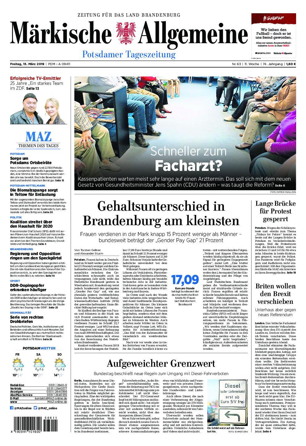 Märkische Allgemeine – 15. März 2019