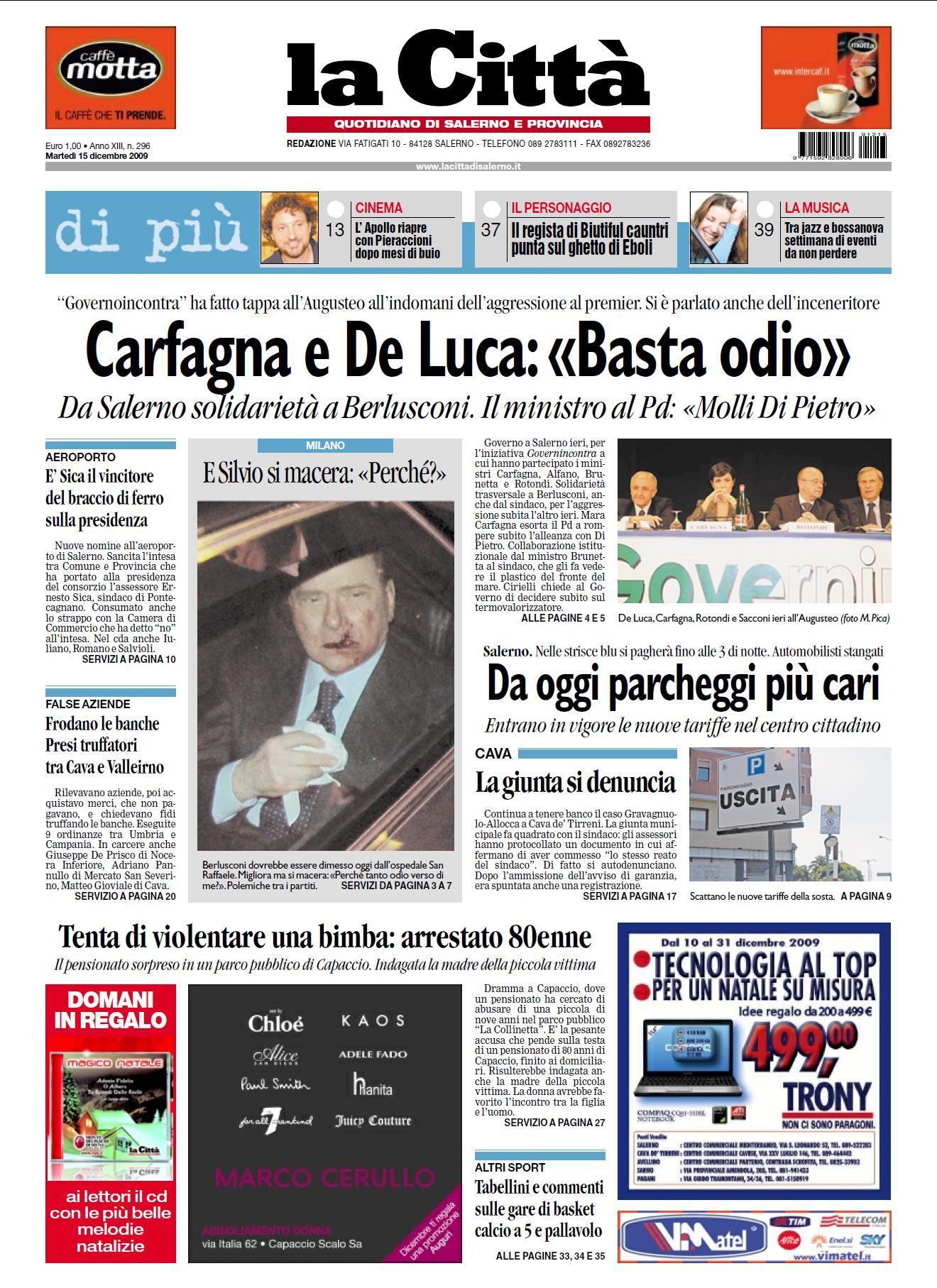 LA CITTA DI SALERNO 15 DICEMBRE 2009