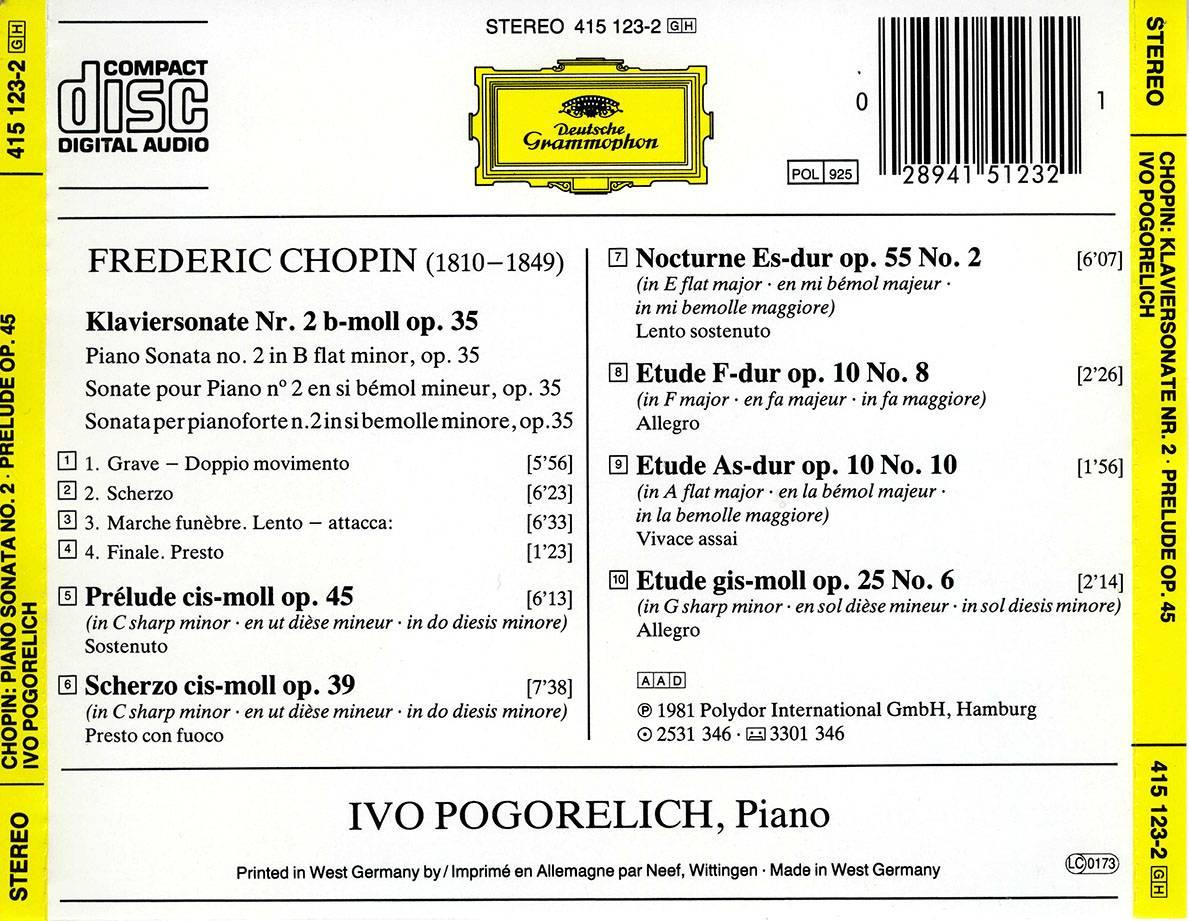 Ivo Pogorelich - Frederic Chopin Recital: Piano Sonata No  2