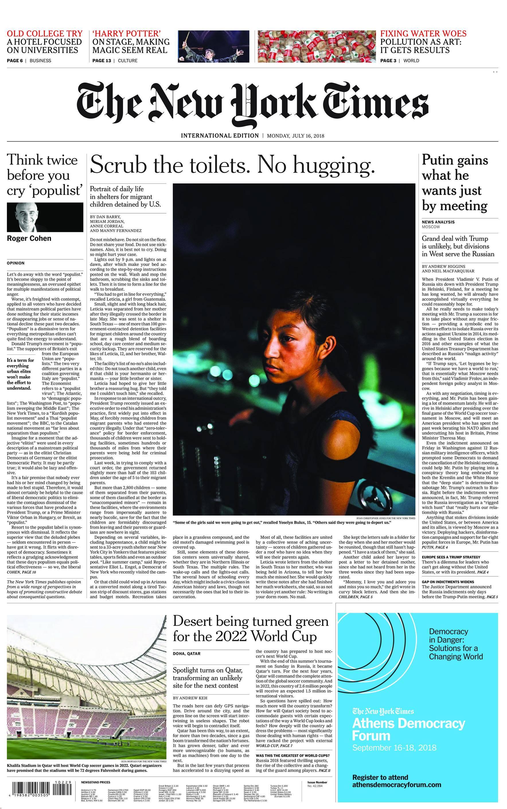 International New York Times - 16 July 2018