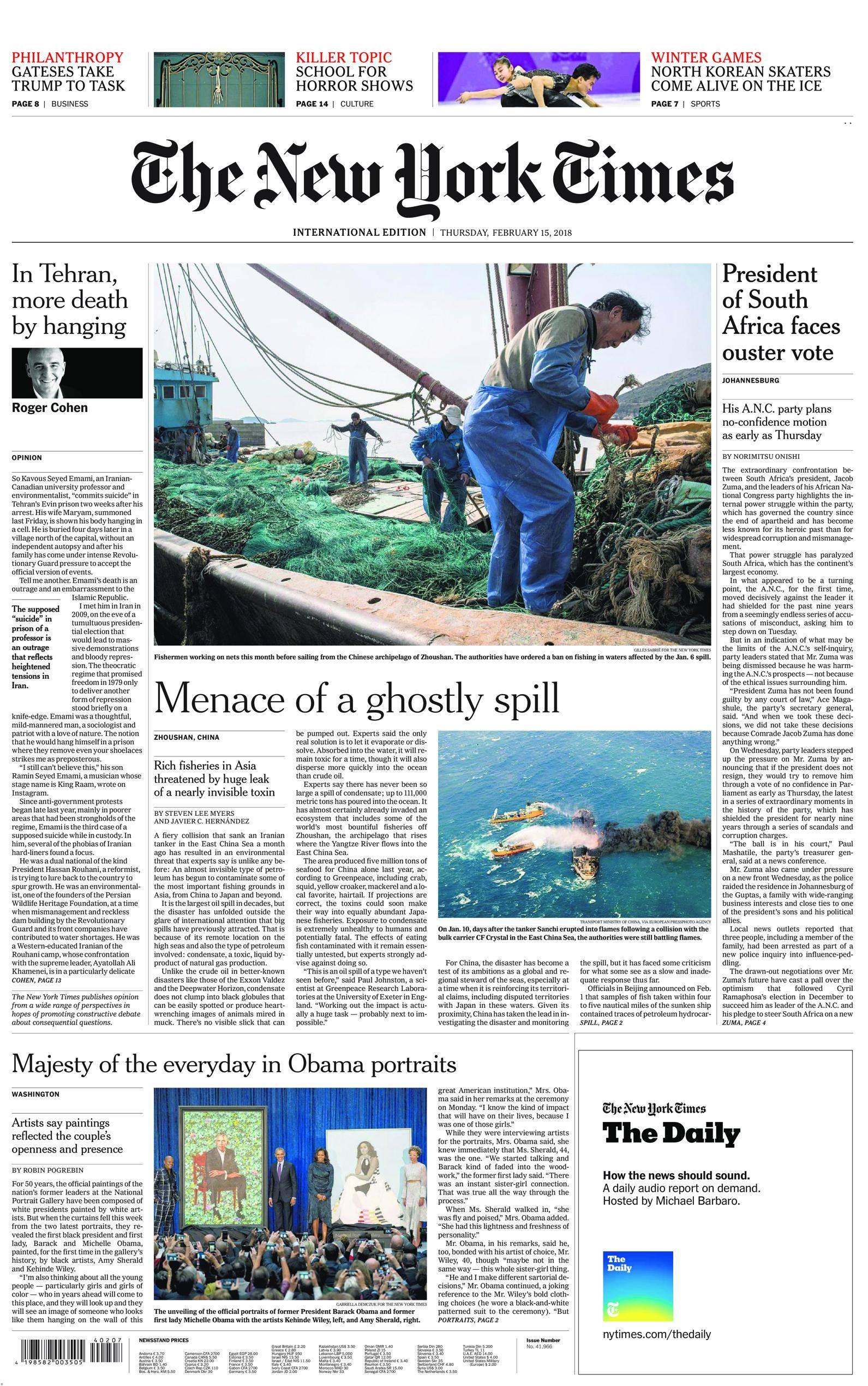 International New York Times - 15 February 2018