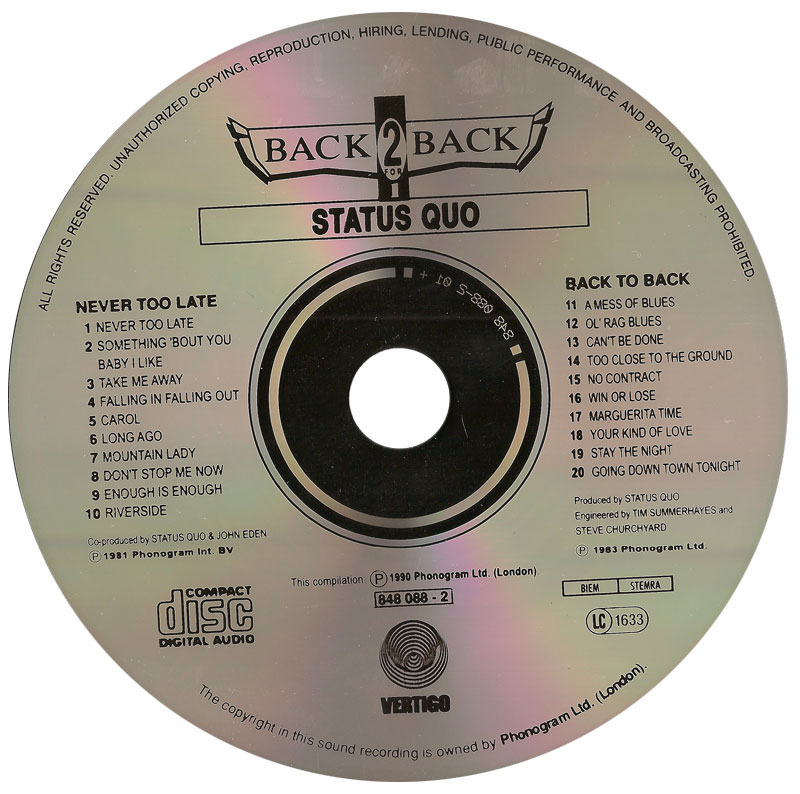 Status Quo - Never Too Late & Back To Back (1981/83) [2 in 1, Vertigo 848 088-2] Re-up