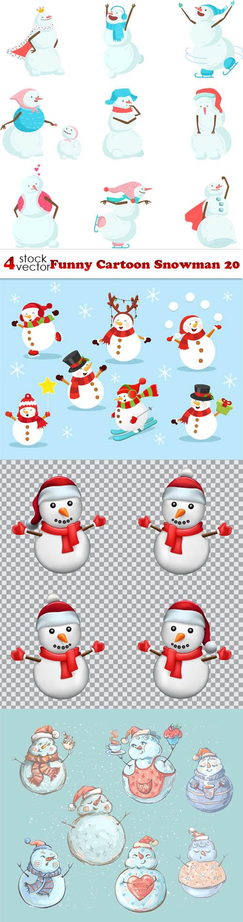 Vectors - Funny Cartoon Snowman 20