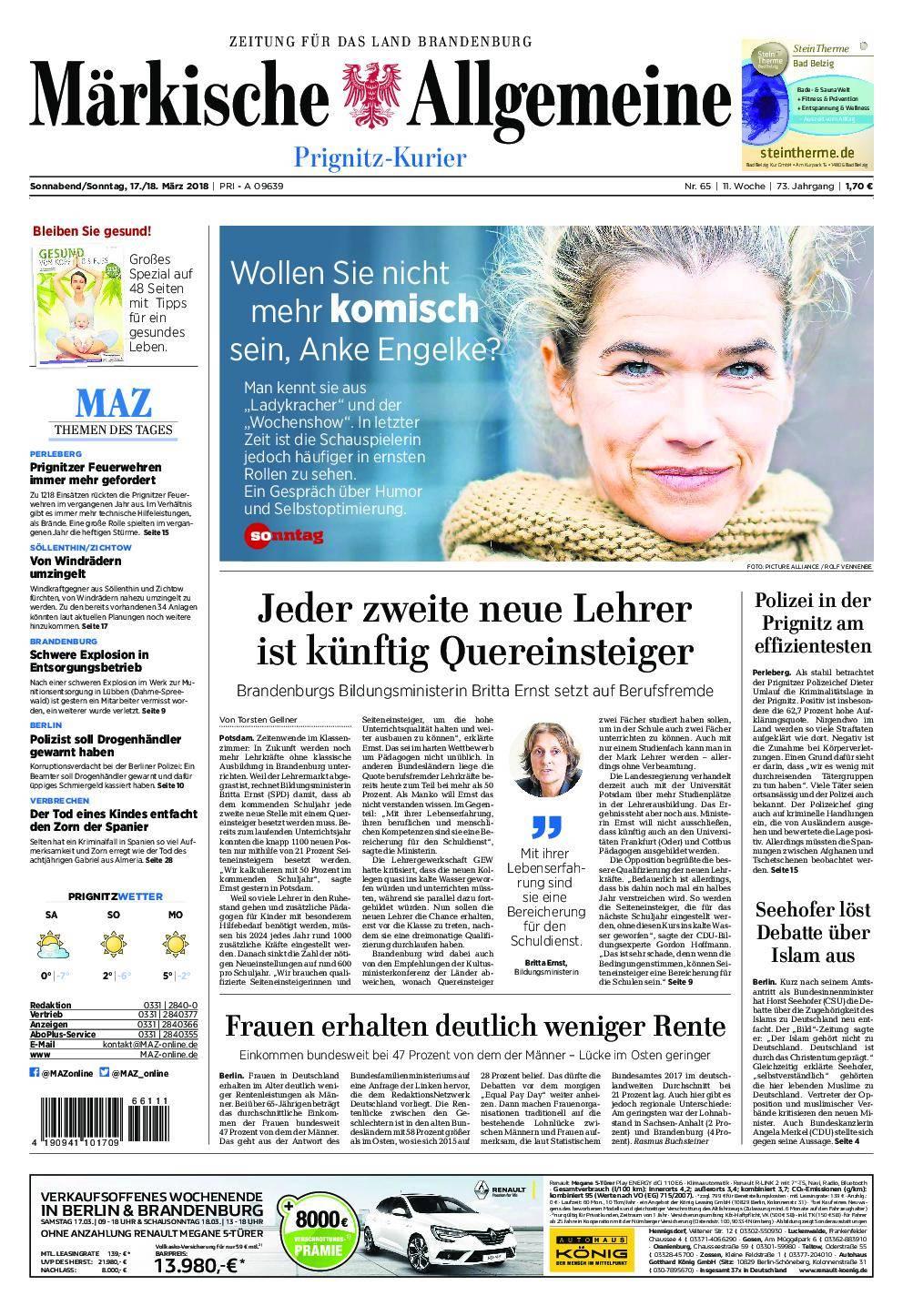 Märkische Allgemeine Prignitz Kurier - 17. März 2018