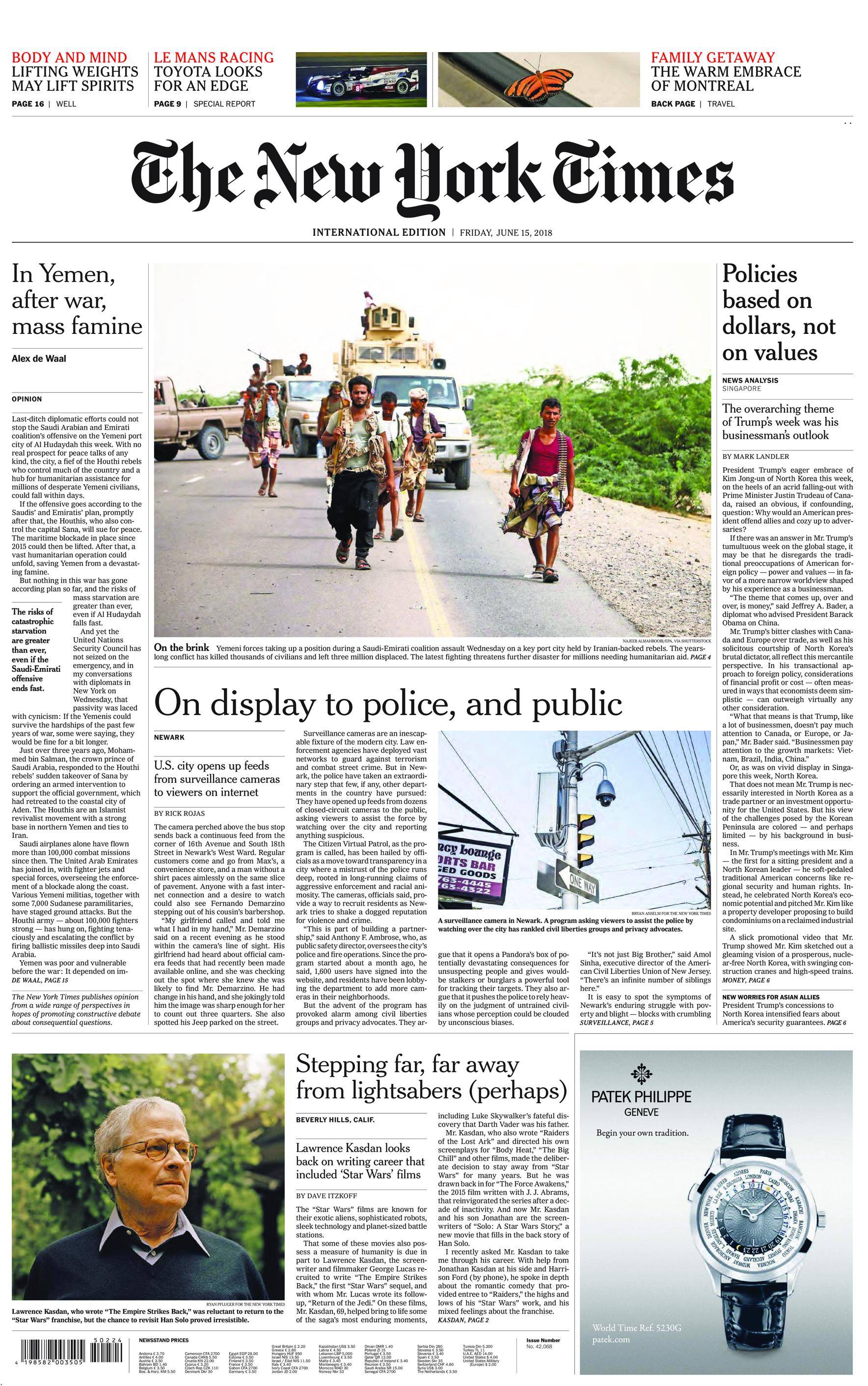 International New York Times - 15 June 2018