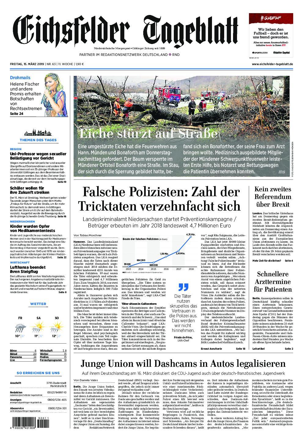 Eichsfelder Tageblatt – 15. März 2019