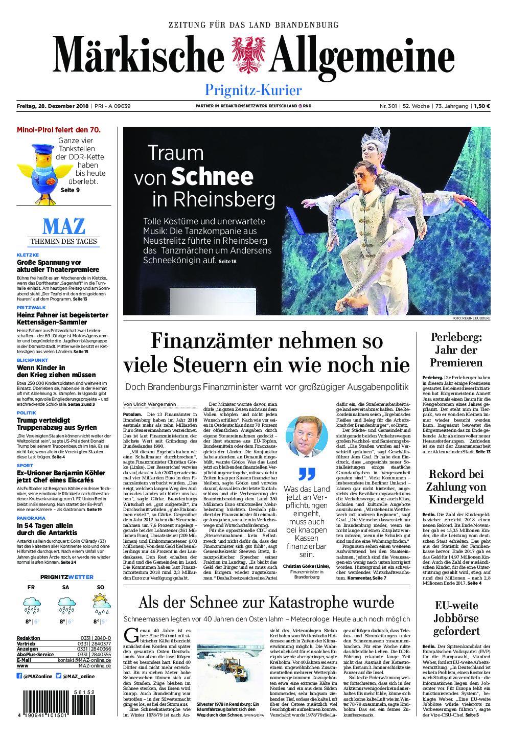 Märkische Allgemeine Prignitz Kurier - 28. Dezember 2018