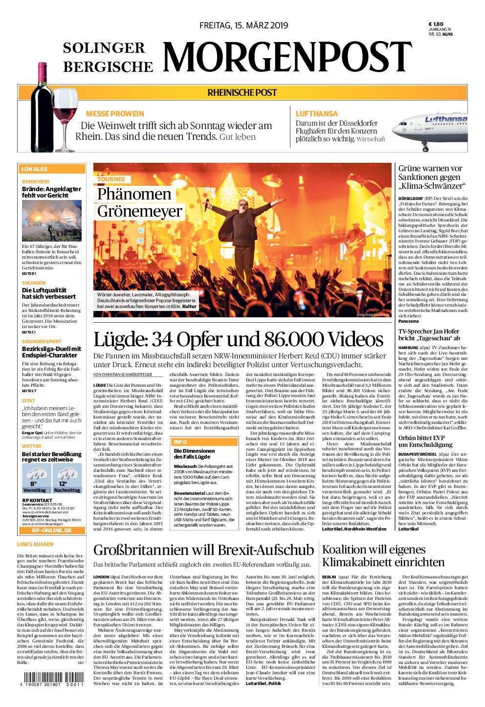 Solinger Morgenpost – 15. März 2019