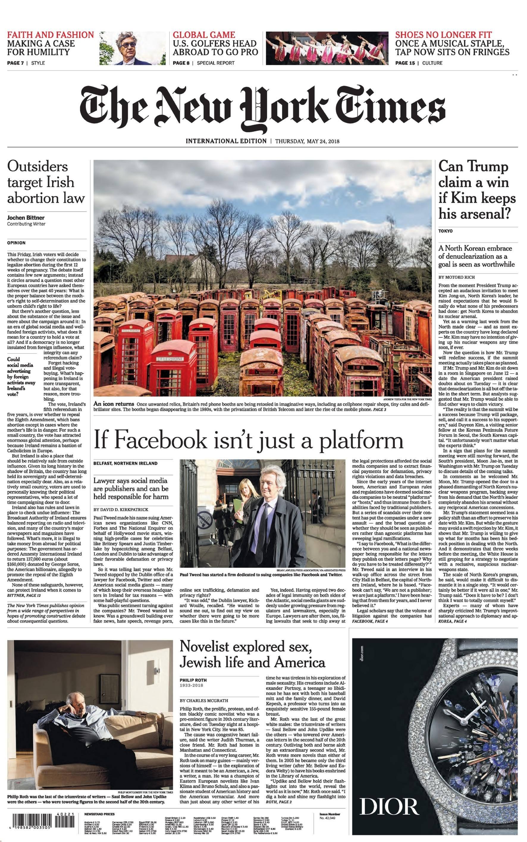 International New York Times - 24 May 2018
