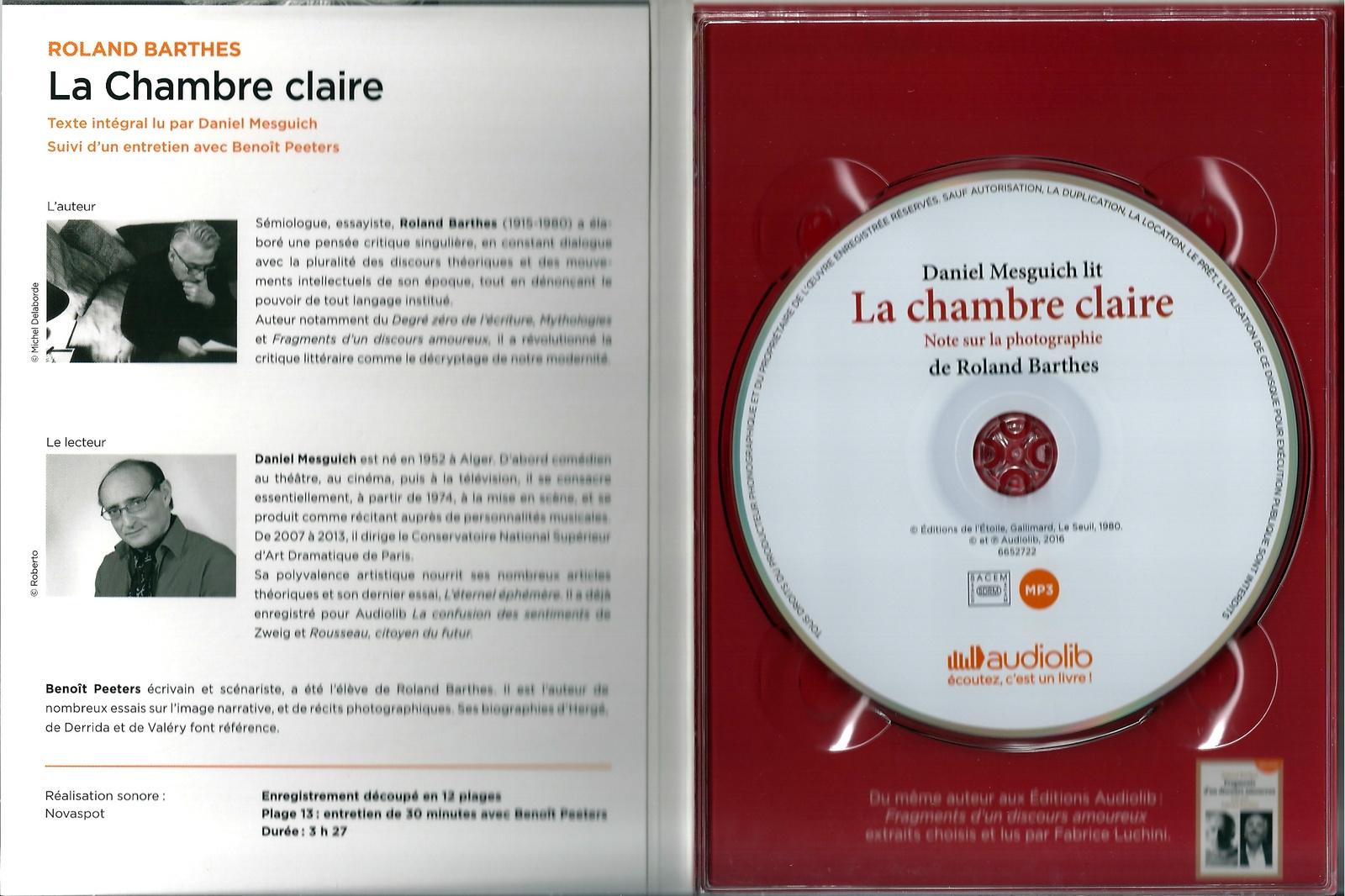 """Roland Barthes, """"La chambre claire: Note sur la photographie suivi d'un entretien avec Benoît Peeters"""""""