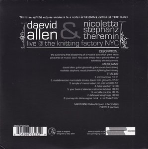 Daevid Allen & Nicoletta Stephanz - Bananamoon Obscura No. 6: Live @ The Knitting Factory NYC (2004) Re-Up