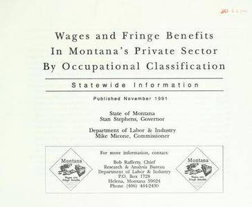 Wages and fringe benefits in Montana's private sector by occupational classification