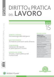 Diritto e Pratica del Lavoro N.15 - 13 Aprile 2019