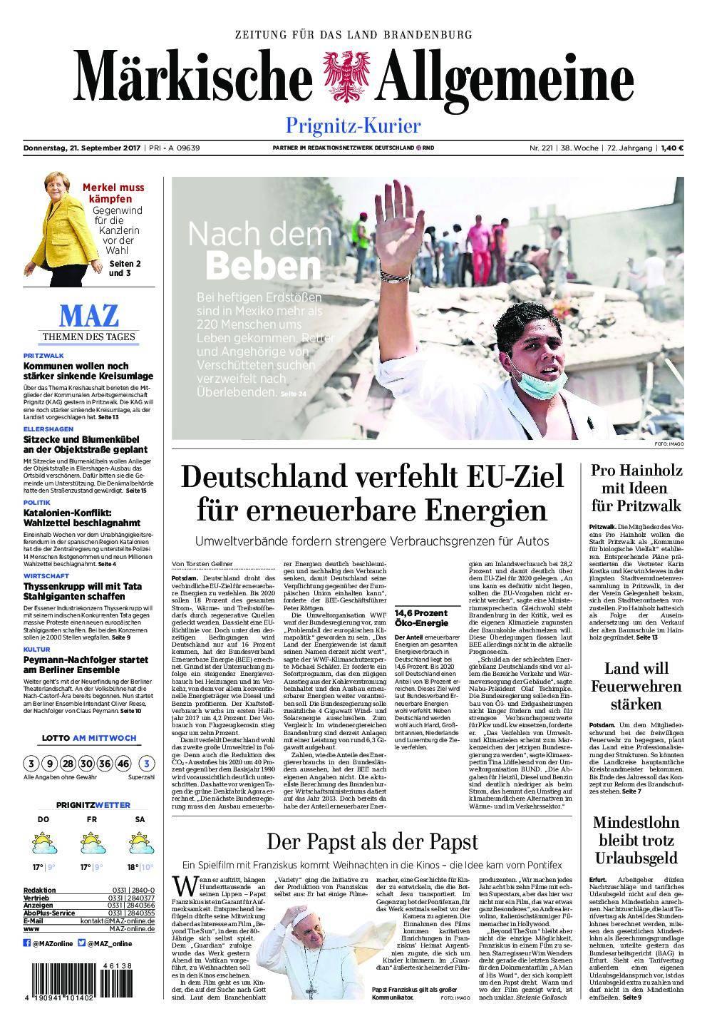 Märkische Allgemeine Prignitz Kurier - 21. September 2017