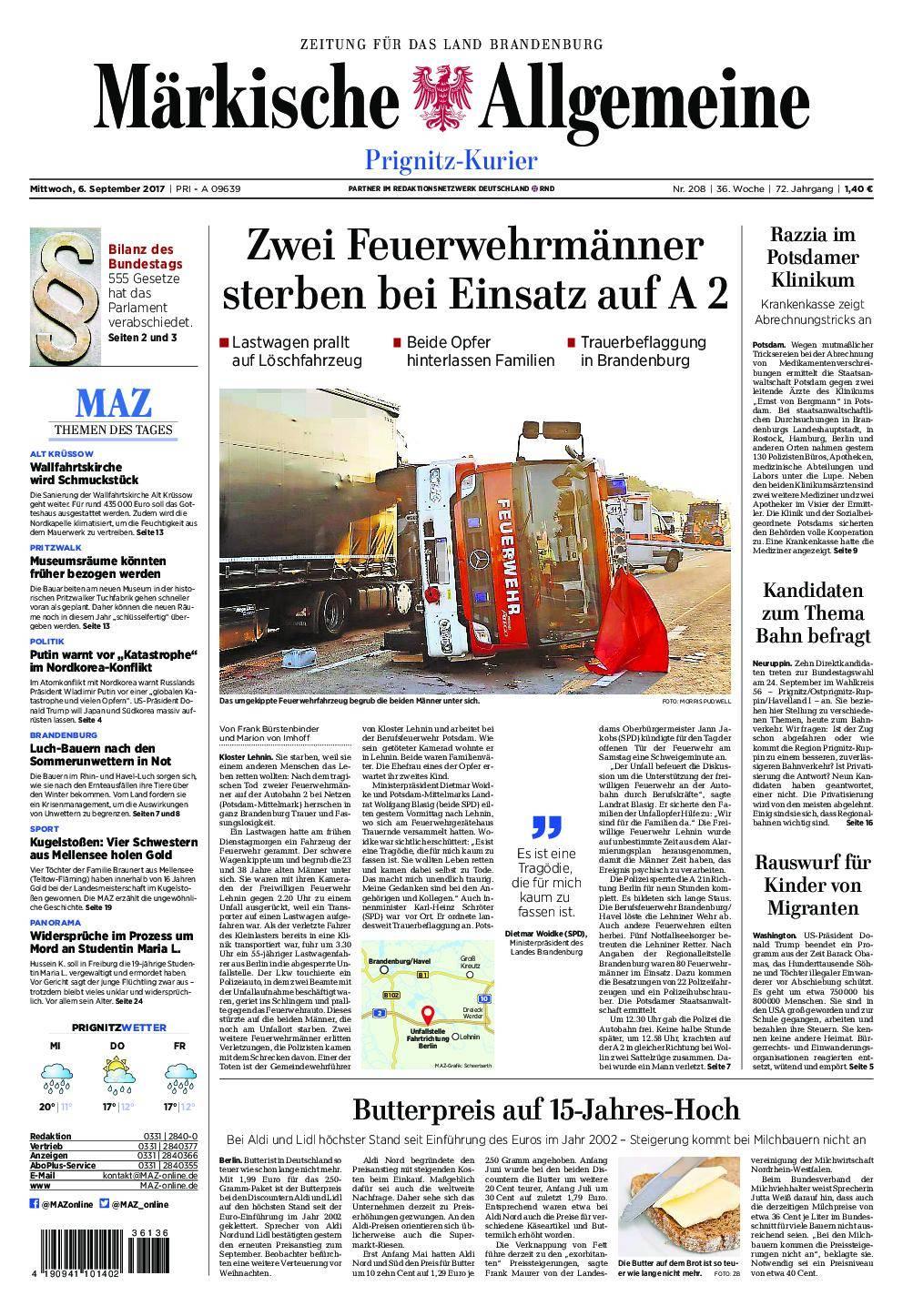 Märkische Allgemeine Prignitz Kurier - 06. September 2017