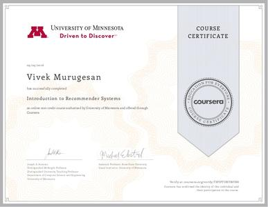 Coursera - Recommender Systems (University of Minnesota)
