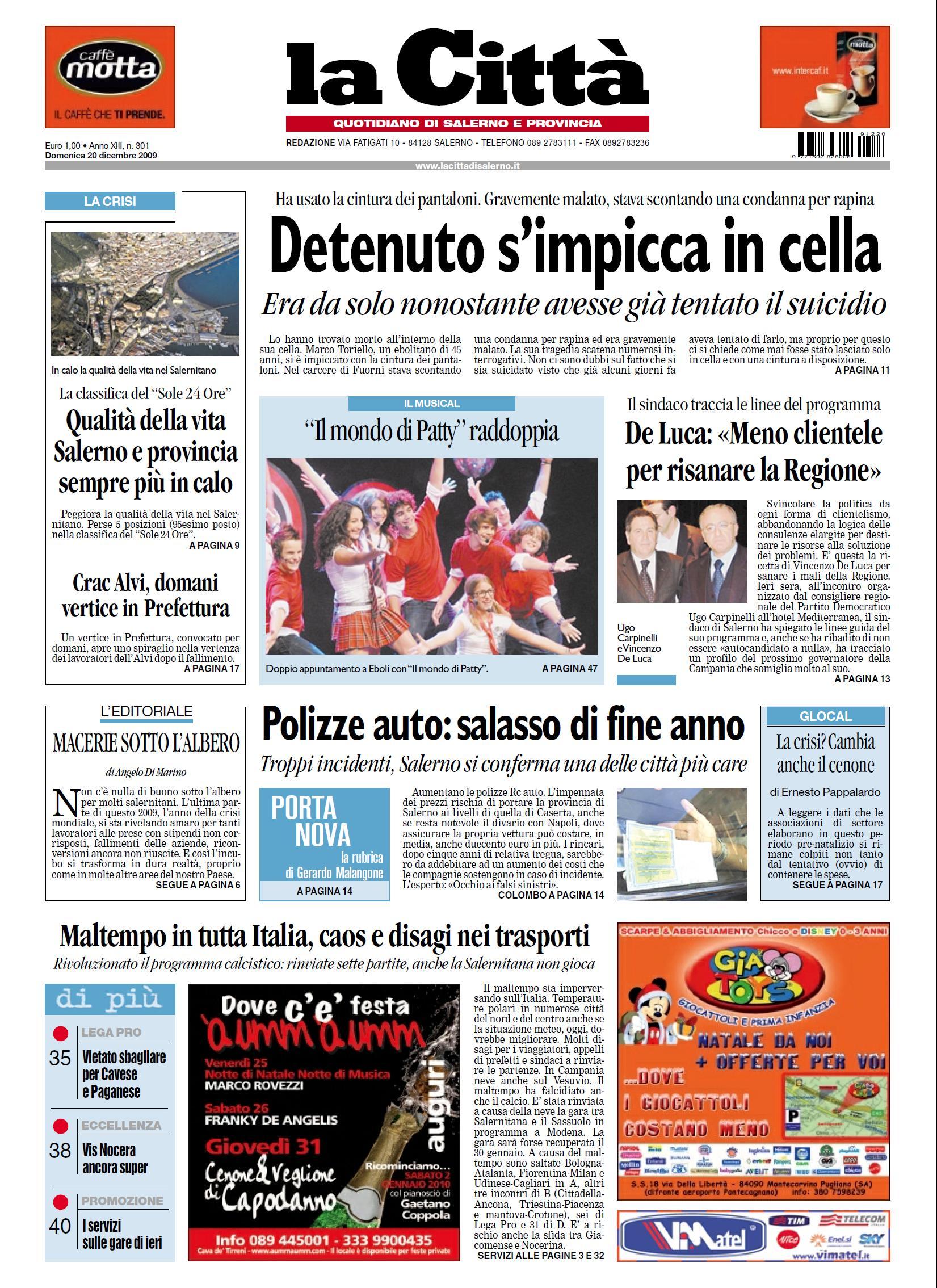 LA CITTA DI SALERNO 20 DICEMBRE 2009