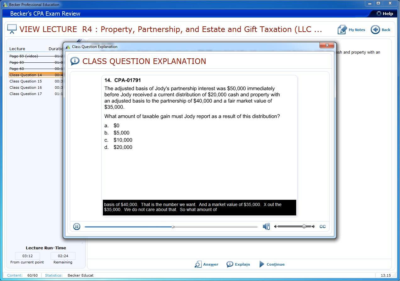 Becker CPA Exam Review 2014 - Regulation (REG)