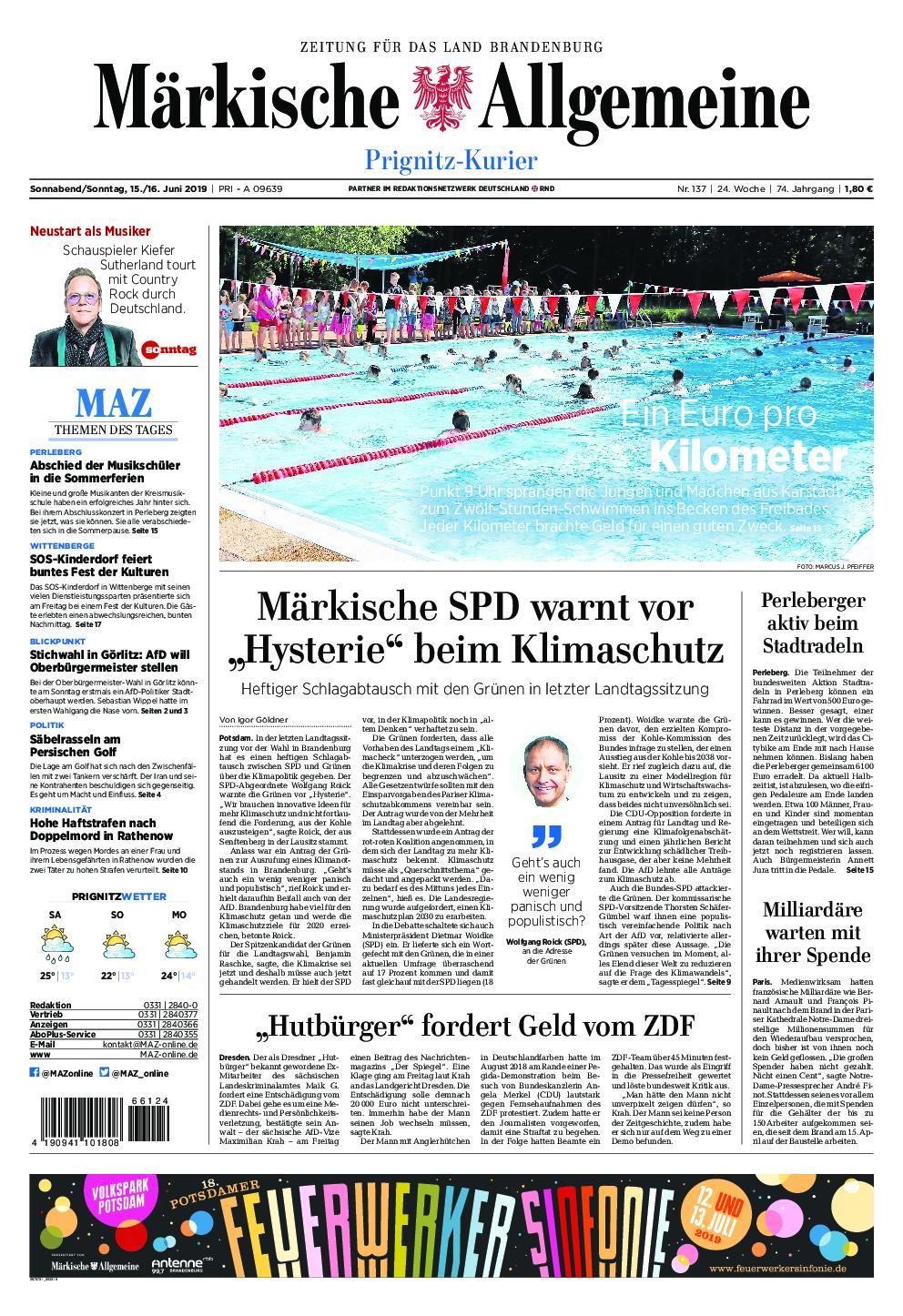 Märkische Allgemeine Prignitz Kurier - 15. Juni 2019
