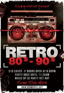 Retro 80s 90s Flyer - PSD Template