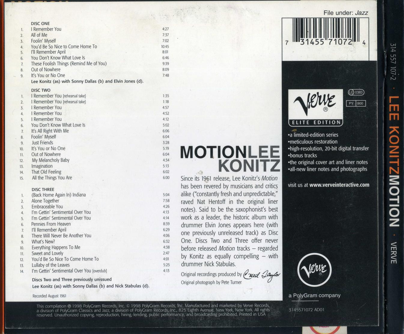 Lee Konitz The Complete Motion 1961 3cd 1998 Verve