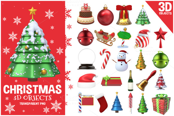 CreativeMarket - Christmas 3D Objects Set
