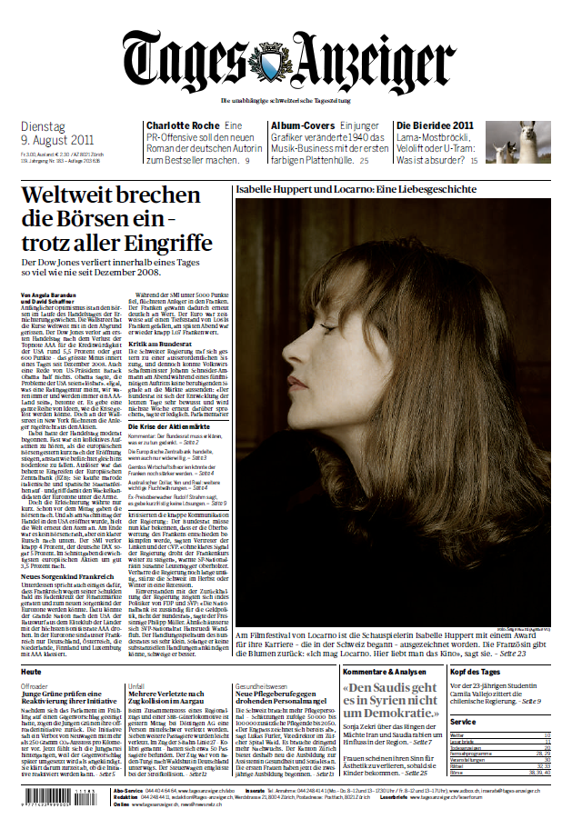 Tagesanzeiger Schweiz 09 08 2011