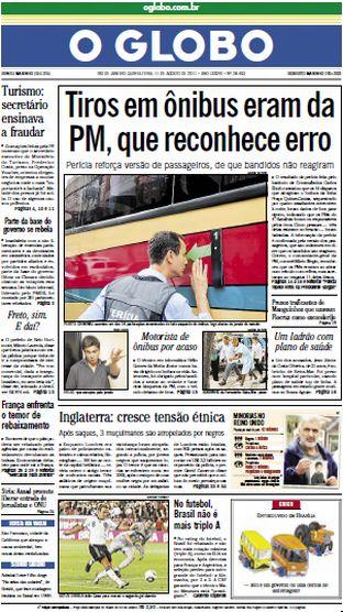 Jornal O Globo - 11 de agosto de 2011
