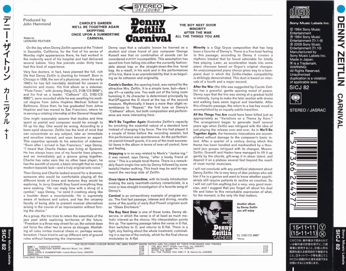 Denny Zeitlin - Carnival (1964) {2015 Japan Jazz Collection 1000 Columbia-RCA Series SICJ 82}