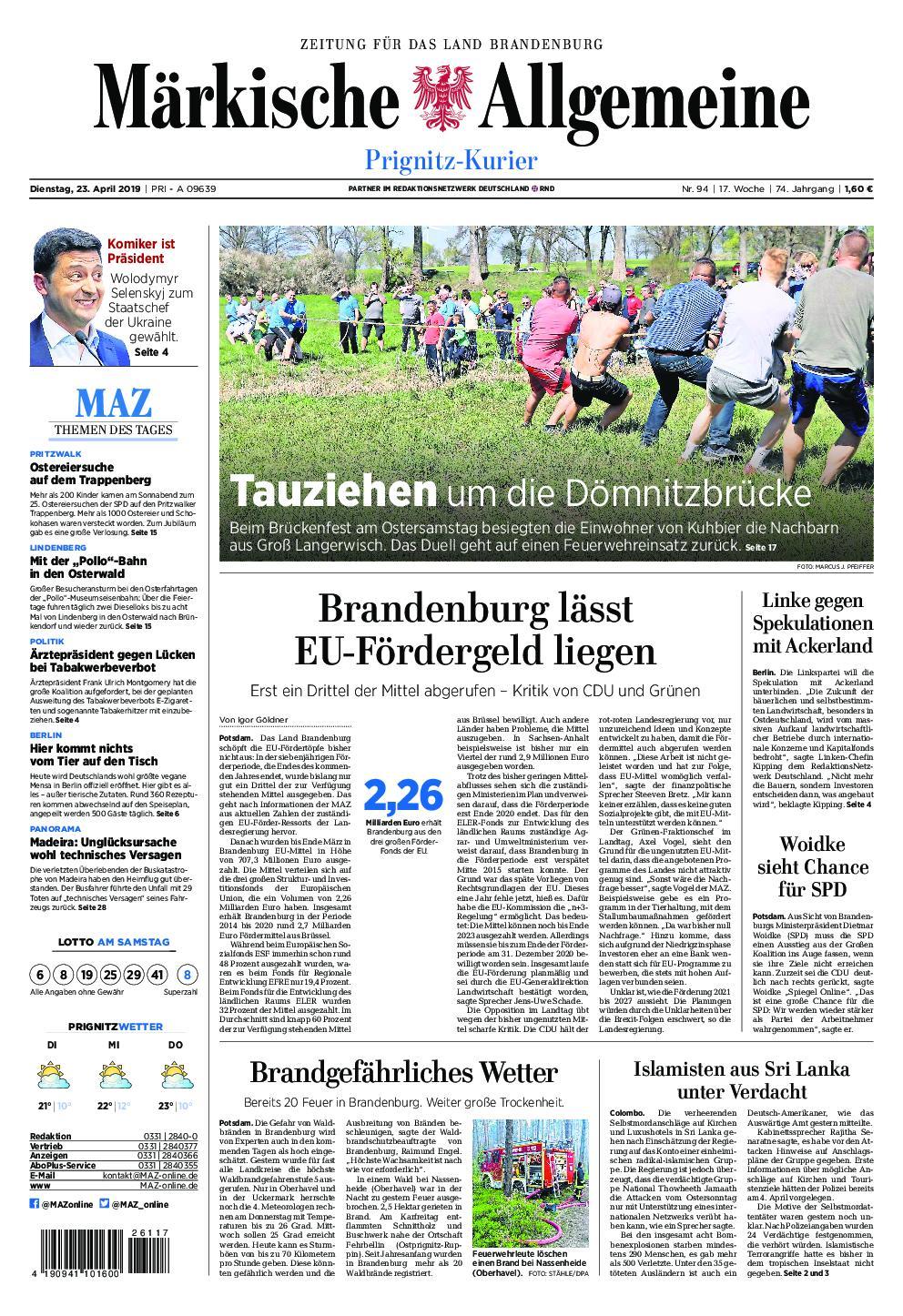 Märkische Allgemeine Prignitz Kurier - 23. April 2019