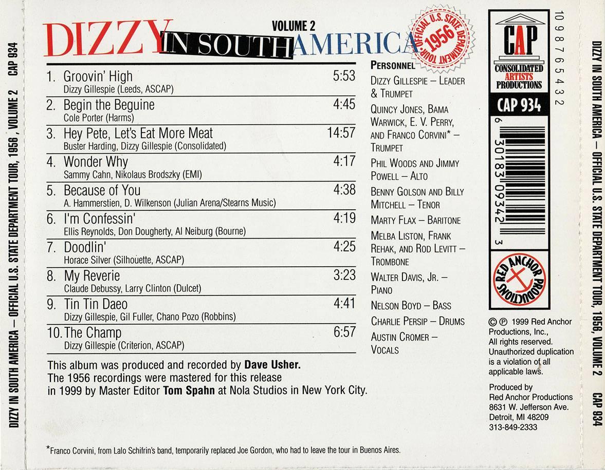 Dizzy Gillespie - Dizzy in South America: Official U.S. State Department Tour, 1956, Vol. 2 (1999)