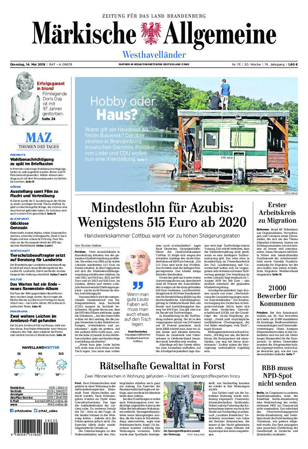 Märkische Allgemeine Westhavelländer - 14. Mai 2019