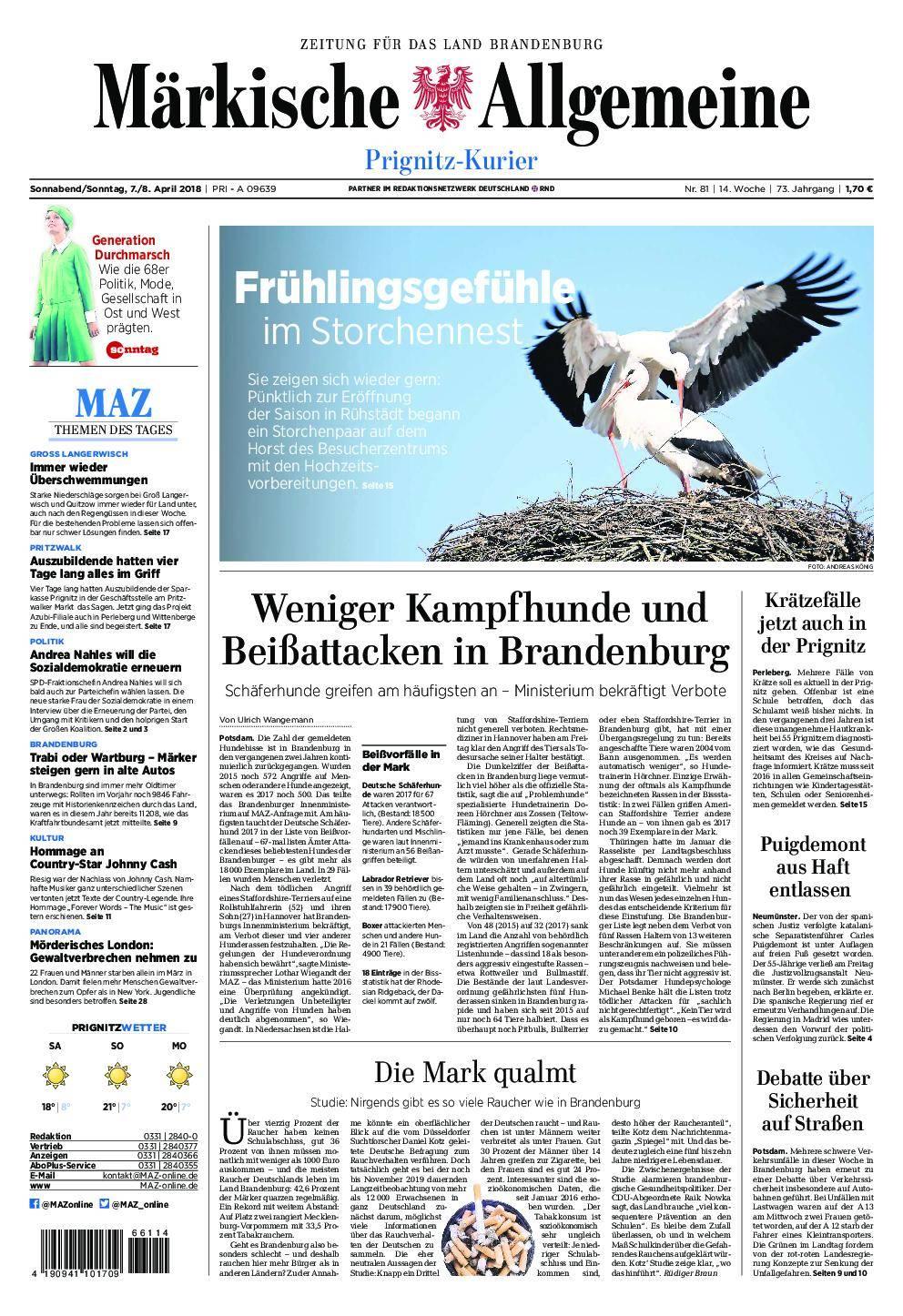 Märkische Allgemeine Prignitz Kurier - 07. April 2018