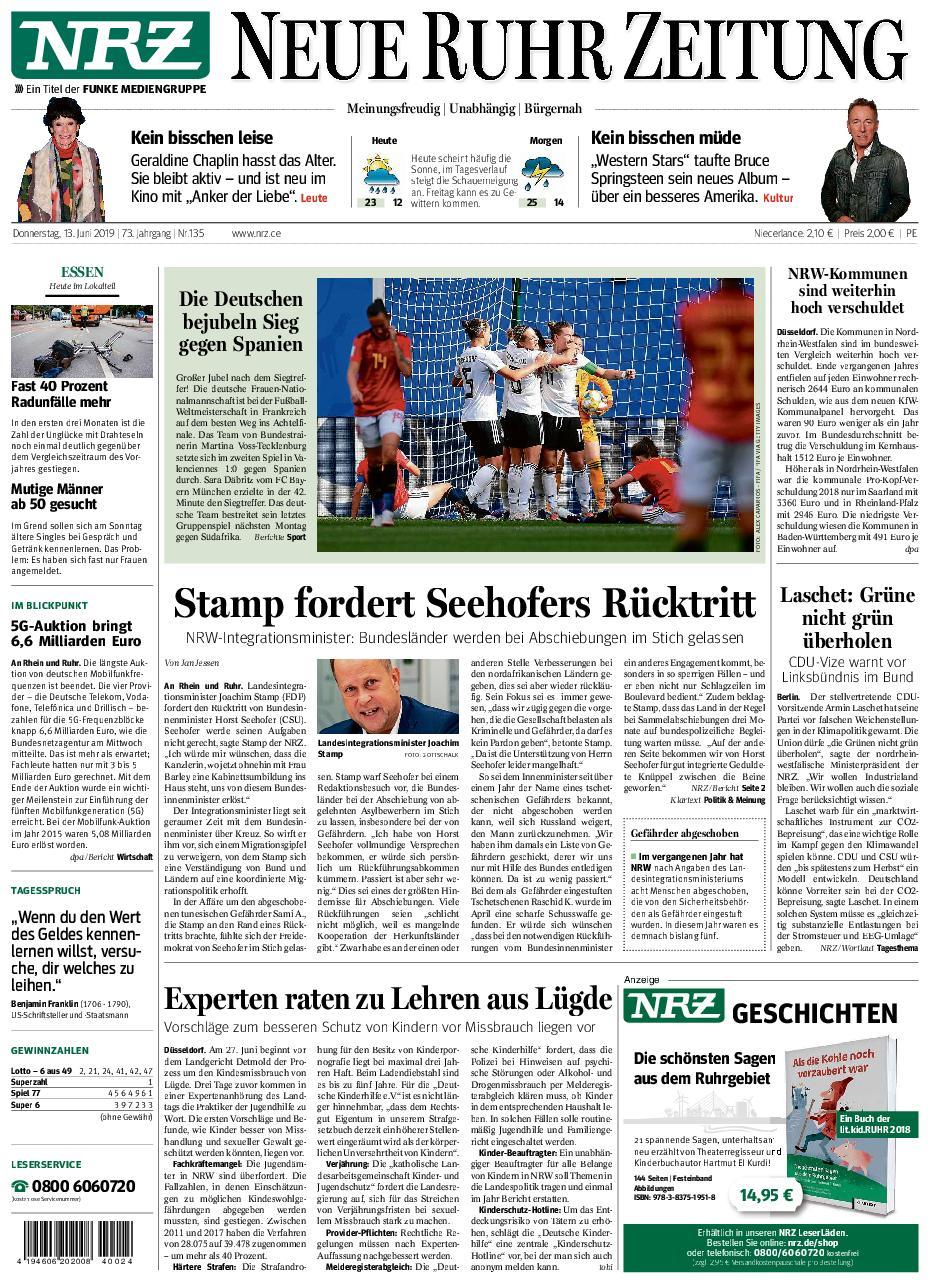 NRZ Neue Ruhr Zeitung Essen-Postausgabe - 13. Juni 2019