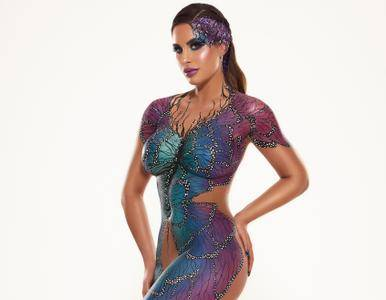 Jessica Shears does a naked 3D body paint photoshoot for 3D-lipo by James Rudland