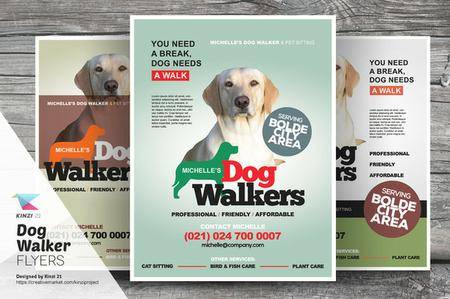 CreativeMarket - Dog Walker Flyer Templates