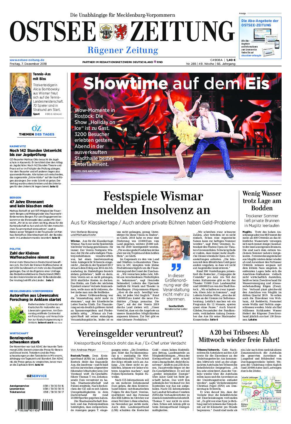 Ostsee Zeitung Rügen - 07. Dezember 2018
