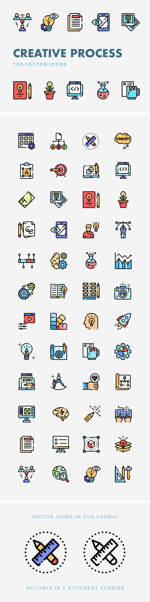 Creative Process 100 Vector Icons