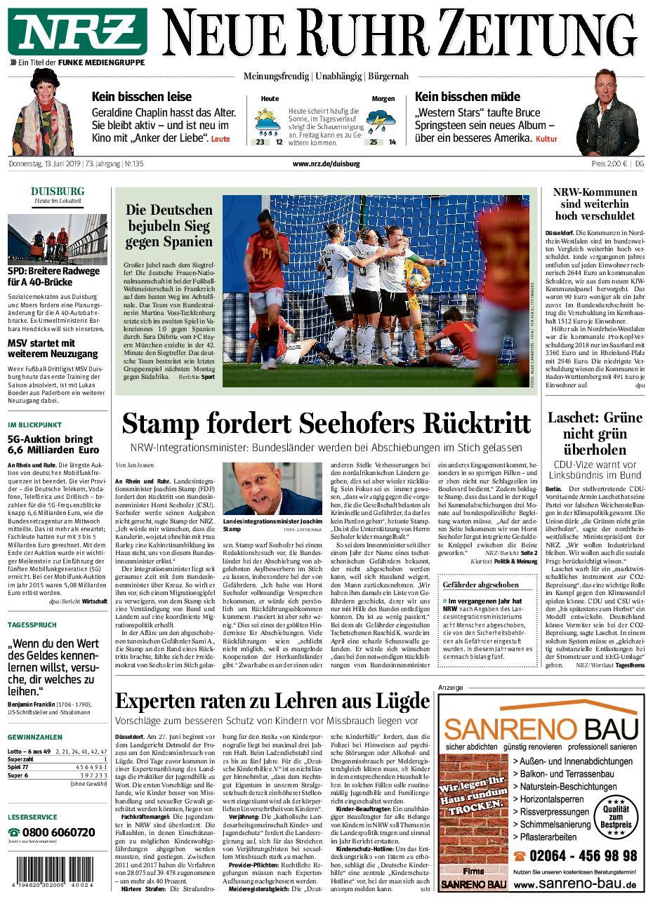 NRZ Neue Ruhr Zeitung Duisburg-Nord - 13. Juni 2019