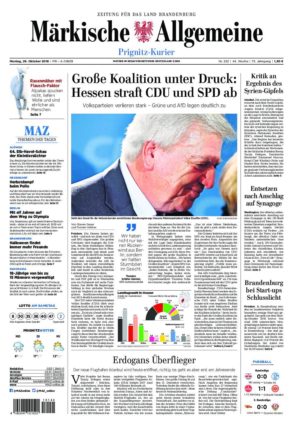Märkische Allgemeine Prignitz Kurier - 29. Oktober 2018
