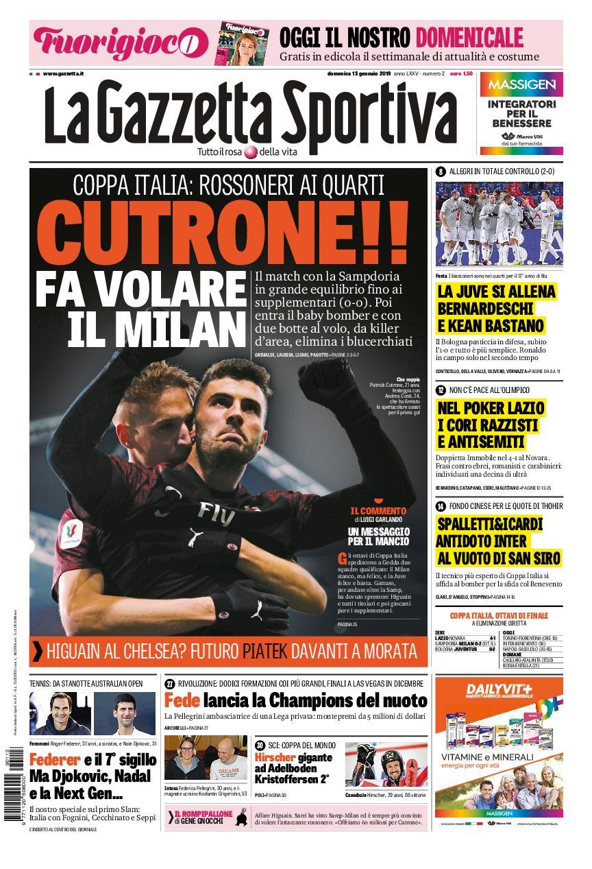La Gazzetta dello Sport – 13 gennaio 2019