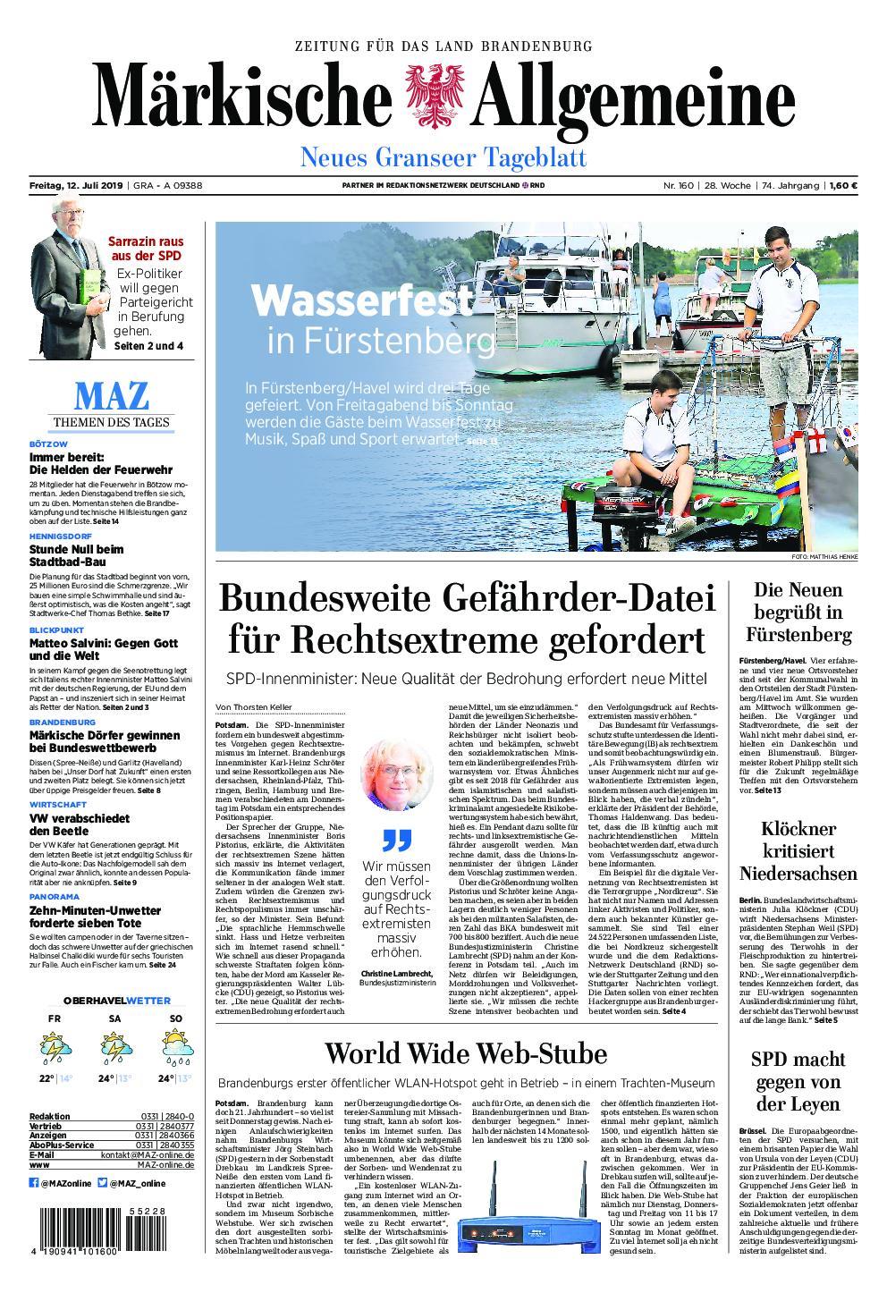 Märkische Allgemeine Neues Granseer Tageblatt - 12. Juli 2019
