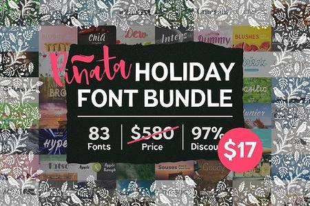 CreativeMarket - 83 Fonts Bundle by Pinata