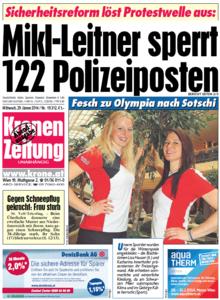 Kronen Zeitung, 29. Januar 2014