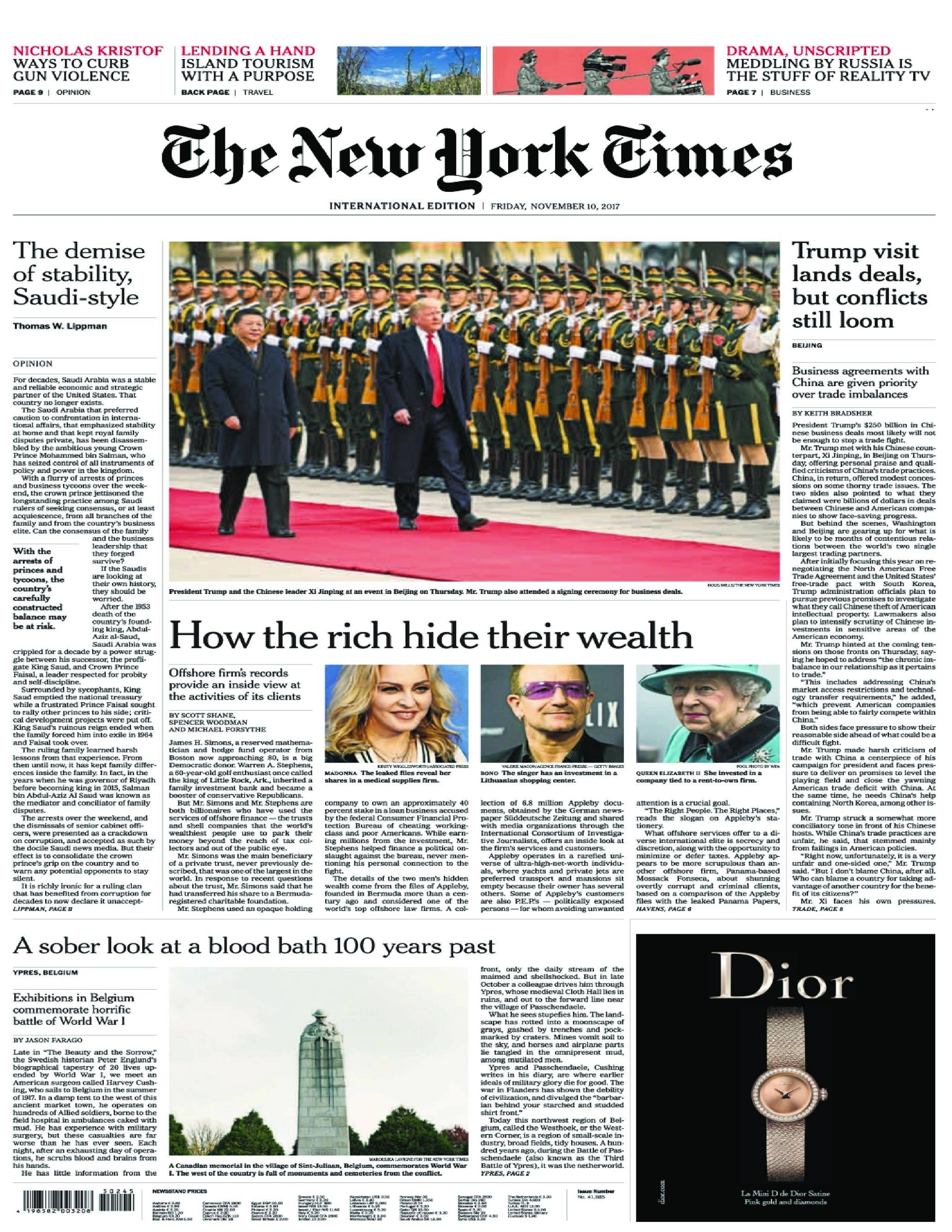 International New York Times - 10 November 2017