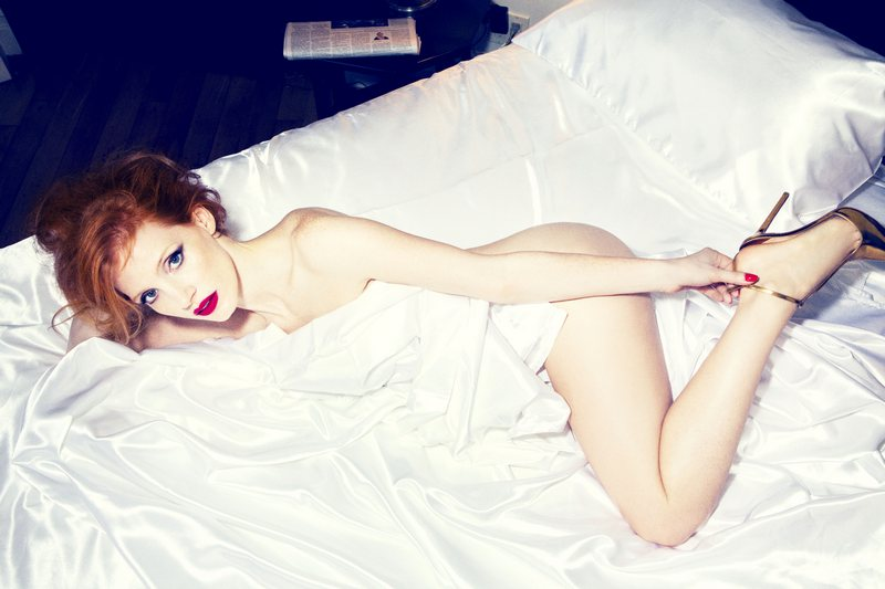 Jessica Chastain by Ellen von Unwerth for GQ UK January 2013