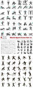 Vectors - Black Sport Icons Set 16