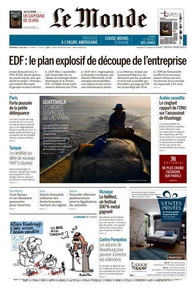 Le Monde du Vendredi 21 Juin 2019